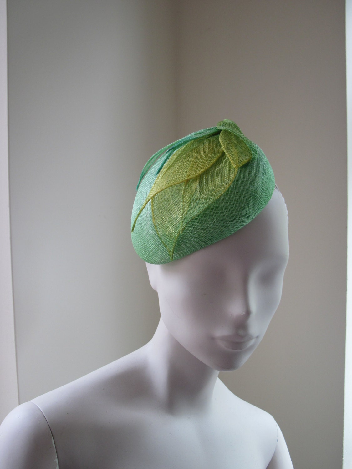 Cocktail Hat Women Green Yellow Sinamay Ombre by MindYourBonce