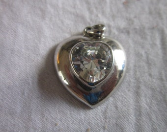 Vintage Sterling Silver & CZ White Stone Heart Shaped Charm Pendant