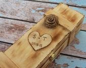 Wine Ceremony,Personalized Wine Box Wood Wedding Birthday Gift, Anniversary Gift, Shabby Chic Wedding ,Burlap Rustic Wedding Engagement Gift
