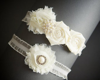 Ivory Garter , Bridal Garter ,Wedding Garter Set  ,Wedding Garter , Toss Garter ,Organza Garter , Satin Garter , Wedding  Accessories