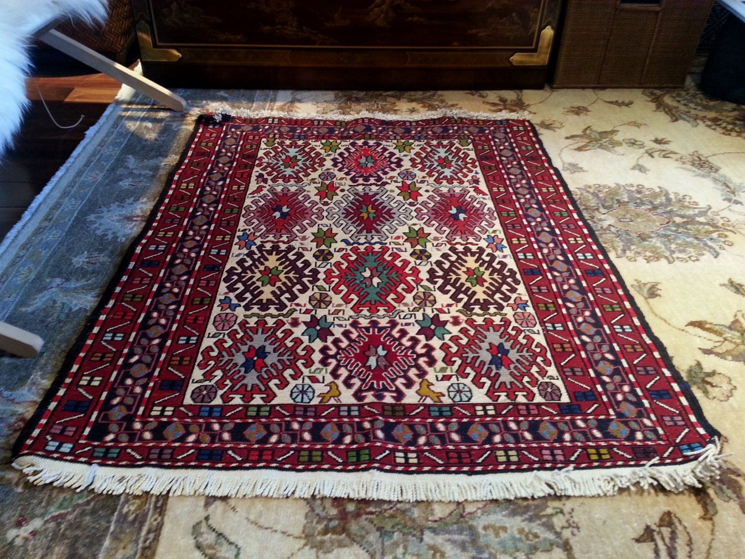 Vintage Hand Knotted Wool Flat Weave Rug With Fringe Wall