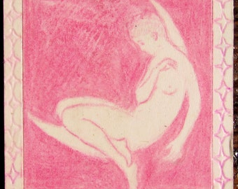 Pink Moon- copy  from the master's work -original mini drawing