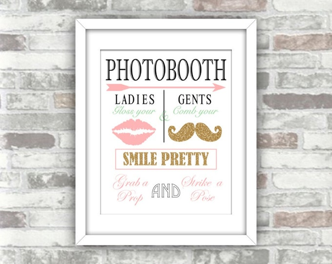 INSTANT DOWNLOAD - Printable Wedding Photobooth Sign - Gold Glitter, Pink, Seafoam Green - 8x10 - Moustache - Grab a prop and strike a pose