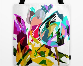 Flower Tote Bag Gift for Her Unique Bridesmaid Gifts Colorful Tote Bag Illustration Tote Tulip