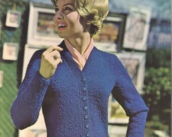 College Cardigan • 1960s Cardigan Sweater Pattern • 60s Vintage Knitting Patterns • Bulky Boucle Yarn Retro Knit PDF