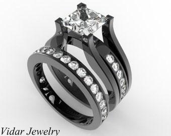 Princess Cut Diamond Wedding Ring Set 14K Black Gold Unique Wedding Ring Set,Princess Cut Diamond Engagement Ring,Black Gold Engagement Ring