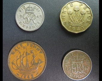 Classic Antique (1942, 1943, 1947, 1949 Vintage BRITISH 1/2p, 3p, 6p OLD Copper, Brass, Bronze Pence WWII Coin Collection) Nice Gothic Chic!
