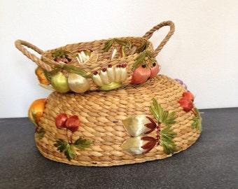 Vintage Raffia Baskets - Woven Raffia - Summer Picnic Baskets - 4th of July Party