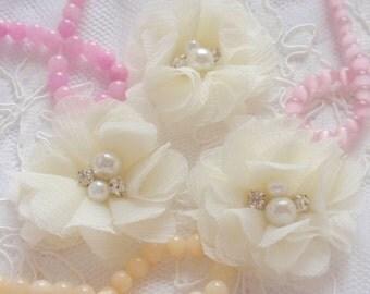 3 Handmade Chiffon Flowers Fabric Flower Fabric Rose With Rhinestone Pearl (2 inches) Cream MY-323-01  Ready To Ship