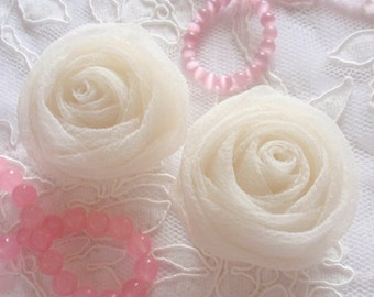 2 Organza Rolled Roses Chiffon Roses Fabric Flower (2 inches) In Cream MY-352-02 Ready To Ship