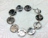 Coin bracelet, Dime Bracelet, Silver, Anniversary, Under 20, Free Shipping, Silver bracelet, Birthday gift