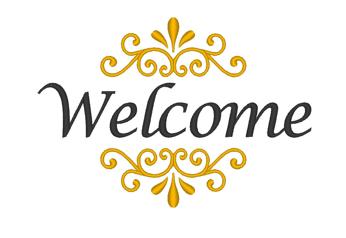 welcome embroidery machine design