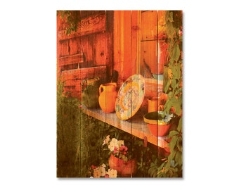 28x36 French Garden Pottery on Cedar, Indoor Outdoor Art, Wood Wall Decor, Wall Hanging. (FP2836)