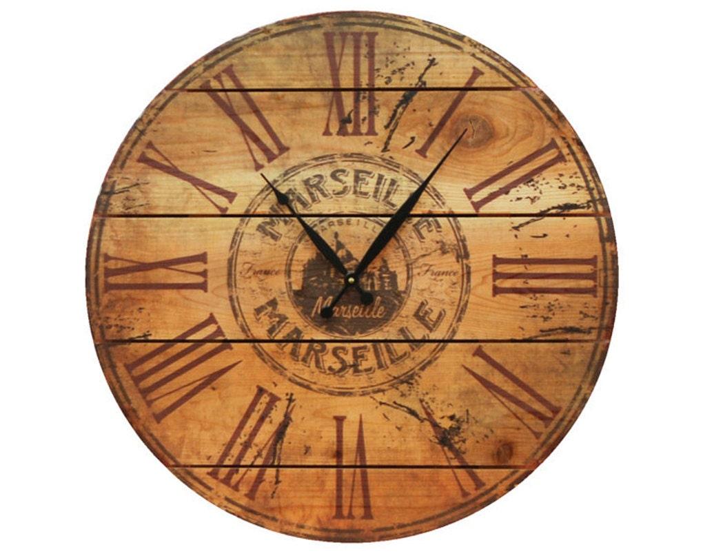Marseille Wood Wall Clock 24 Outdoor Safe Clock On