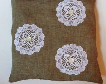 Linen Weave Pillow Vintage Lace Doilies,Vintage Pearl Buttons 16 x 16,Shabby Chic,Cottage Chic,Farmhouse Decor, Victorian Pillow