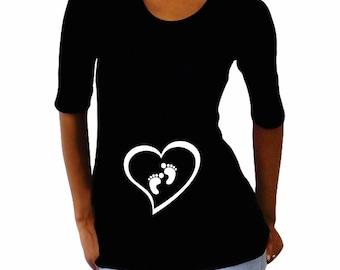 Maternity Shirt- Heart with Footprints - Black- VA078