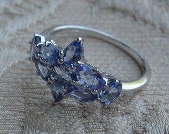 Multi Tanzanite Sterling Silver Ring Sizes 6 1/4 and 8