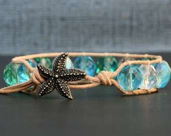 mermaid jewelry - beach bracelet - sea glass beach glass colored crystal on natural leather - starfish button