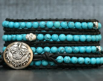 skull wrap bracelet- turquoise and silver skulls on black leather