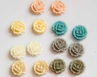 12 pcs of resin rose cabochon 0895-you can choose color