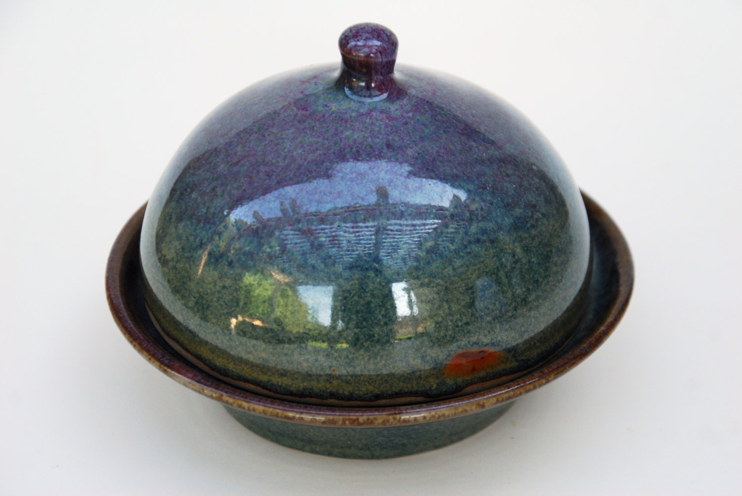 Pottery Ceramic Butter Dish With Lid Round By Elenamadureri