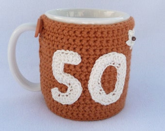 Crochet mug cozy 50th Birthday gift.