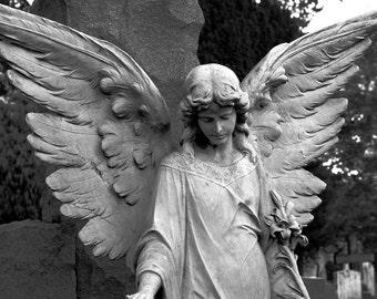 Guardian Angel,Female Angel,Statue,Angel Wings,Christian Art,Cemetery,Stone Sculpture,Religious Art,Canvas Art