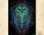 Ascension Owl - prints , a3 a4 a5 sizes.nature,ascend,awake,green,purple,dmt,aya,festival,bird