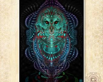 Ascension Owl - prints , a3 a4 a5 sizes.nature,ascend,awake,green,purple,dmt,ayahuasca,festival,bird
