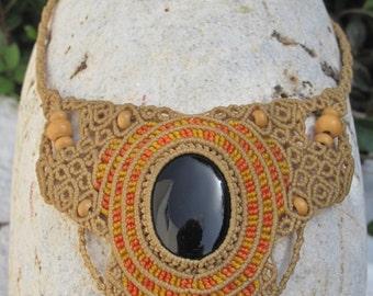 Black onyx macrame necklace