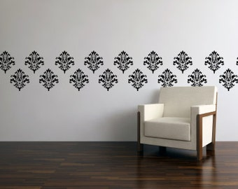 Vinyl Wall Art Decals - Vinyl Wall Paper - Damask Wall Decal - Vinyl Damask 0008