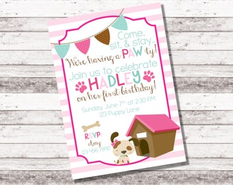 Girl's Puppy Birthday Invitation | 1st 2nd Birthday Invitation | Puppy Theme Party | Girl Birthday Invite | Adopt a Puppy | Digital Invite