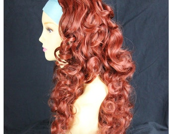 Curly Copper Red 3/4 Fall Hairpiece Long Curly Layered Lady Half Wig WIWIGS.