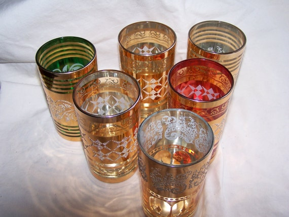 vintage Korean drinking glasses, Hollywood Regency glasses, golden glasses, collective tumblers