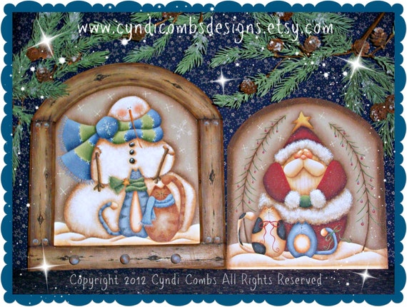 CC128 - Snowman and Santa Pegboard - Painting E Pattern by Cyndi Combs