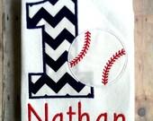 Personalized Baseball Birthday Shirt / Sports Shirt / Baseball Shirt / 1st Birthday, 2nd Birthday, 3rd Birthday, 4th Birthday, 5th Birthday.