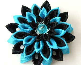 Kanzashi  fabric flower brooch . Black and turquoise flower brooch. Black and turquoise kanzashi brooch. Handmade flower brooch.