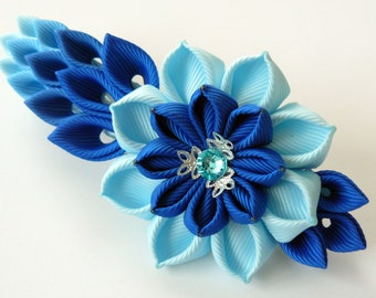 Kanzashi fabric flower french barrette. Floral french clip. Blue flower barrette. Handmade blue french barrette. Blue kanzashi barrette.