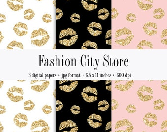 Gold Glitter Lips Digital Paper - Bachelorette Party - 3 Digital Files at 600 dpi - Instant Download - 8.5 x 11 inches