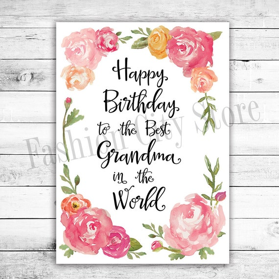Birthday Cards For Grandma Printable ~ Happy birthday card for grandma watercolor by fashioncitystore