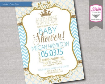 Baby Shower Invitation - Prince Crown for Boy and Gold Glitter and Chevron - DIY Printable - Blue