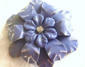 Periwinkle Enamel Flower Brooch Purple Metal Flower Pin Lilac Enamel Brooch Purple Wedding Brooch Bouquet or Wear Large Periwinkle Broach