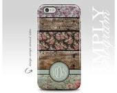iPhone 6 Case iPhone 5s Case iPhone 5 Case iPhone 4 Case iPhone 5c Case Samsung Galaxy Cases - cute floral stripes on wood monogram case