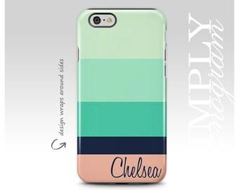 iPhone 7 Case, Samsung Galaxy S8 Case, Mint Stripes, iPhone 8 Case, iPhone 7 Plus Case, Personalized, iPhone 8 Plus Case, Summer Colors