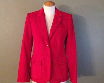 Women's Vintage Red Corduroy Blazer Jacket Size Small Medium Fall Winter Schoolboy Preppy 1980s 80s 1970s 70s Clothing Fashion The Villager