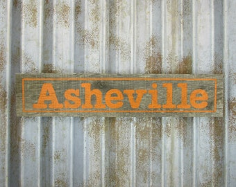 Asheville Sign in Fiesta Orange -  Rustic Wooden City Sign - Reclaimed Wood City Sign