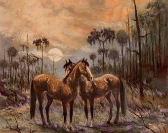 HORSES print from original oil by artist BUSTER KENTON