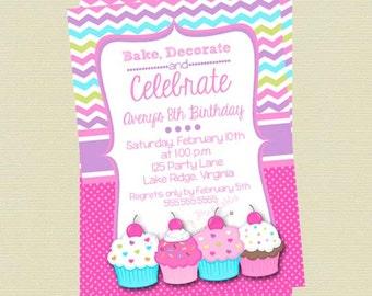 Cupcake Birthday Invitation, Cupcake Decorating Invitation, Personalized Custom Cupcake Invitation, DIY Printable File