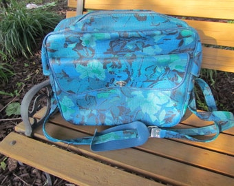 Blue Carry On Bag Luggage with flowers