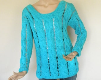 Turquoise hand knitted blouse